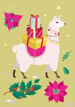 Postcard - Christmas Lama (crissXcross)