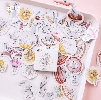 Sticker Flakes Box Candy Poetry | Cute Bunnies