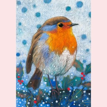 Postcard Loes Botman | Robin with holly