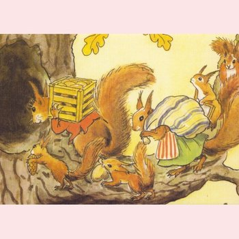 Elsa Beskow Postcard | Illustration from Woody, Hazel and little Pip