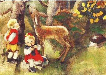 Postkarte Mili Weber - Im Herbstwald