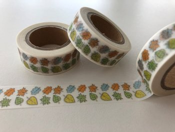 Autumn Washi Masking Tape | 2 Rows of mini Leaves