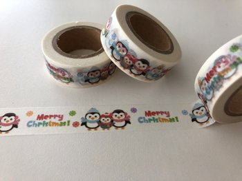 Washi Masking Tape | Merry Christmas Penguins
