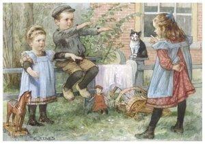 Postcard   Cornelis Jetses, Uit: Nog bij moeder