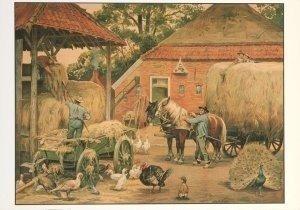 Postcard | Cornelis Jetses, Het volle leven: 'De laatste hooivracht'