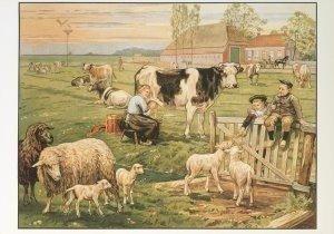 Postcard | Cornelis Jetses, Het volle leven: 'In de weide'