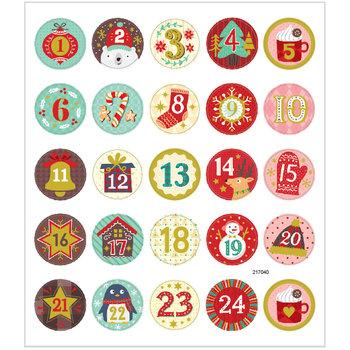 Seal Sticker met Goudfolie | Kerst kalender nummers