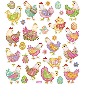 Seal Sticker with Gold Foil | Easter hens