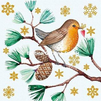 Mila Marquis Postkarte Christmas | Rotkehlchen