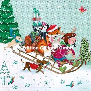 Cartita Design Postcard Christmas | Child and animals riding sled