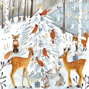 Cartita Design Postcard Christmas | Dieren in het winterbos