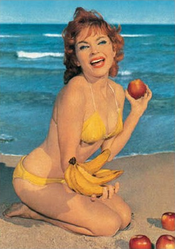 Postcard Blast From the Past | Woman with fruit on the beach