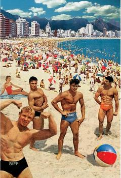 Muscle Beach Individual Postcard by Max Hernn