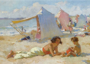 Postcard Tushita Fine Arts | Playing on the beach, Charles Garabed Atamian