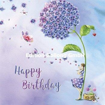 Nina Chen Postkarte | Happy birthday (Frau unter Hortensie)