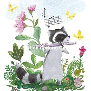 Tatjana Mai-Wyss Postcard | Waschbär mit Flöte