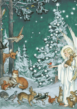 Postcard Molly Brett | Woodland Creatures Gather Around an Angel