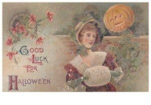 Victorian Halloween Postcard   A.N.B. - Good luck for halloween