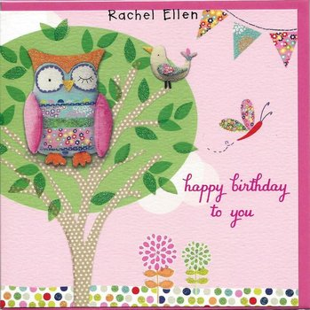 Rachel Ellen Designs - Postcards - Calico - Owl Happy Birthday