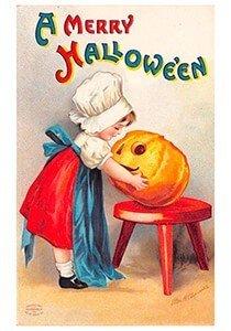 Victorian Halloween Postcard | A.N.B. - A merry halloween