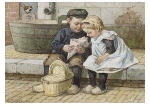 Postcard | Cornelis Jetses, Uit: Nog bij moeder