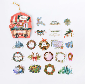 Vintage Sticker Flakes Sack | Christmas Wreaths
