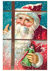 Postcard | Kerstman met een popje in zijn hand kijkt door het raam naar binnen