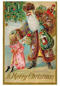 Postcard | Kerstman brengt cadeaus bij een meisje