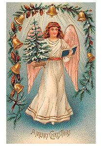 Postcard | Engel met kerstboom en een boek