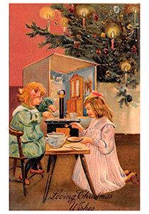 Postcard | Kinderen spelen bij de kerstboom