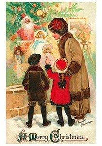 Postcard | Moeder staat met kinderen bij de kerstboom