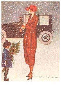 Postcard | Moeder met kind in de sneeuw (Art deco)