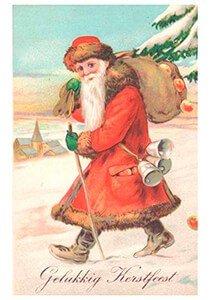Postcard | Kerstman loopt door de sneeuw
