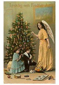 Postcard | Kerstengel bij de kerstboom