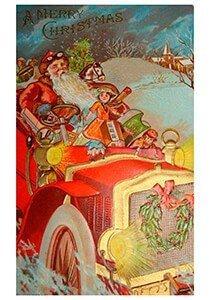 Postcard | Kerstman rijdt in de auto met cadeaus