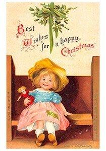 Postcard | Meisje met een pop (Happy Christmas)