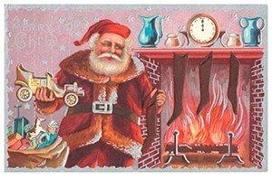 Postcard | Kerstman met cadeaus bij de open haard