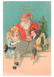 Postcard | Kinderen lezen in een boek en achter hun staat de kerstman