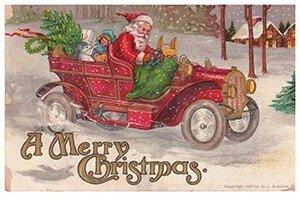 Postcard | Kerstman rijdt in zijn auto met cadeaus (A merry christmas)