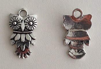 Tibetan Silver Tone Animals Charms Pendants - Owl Nighthawk Bird of Minerva