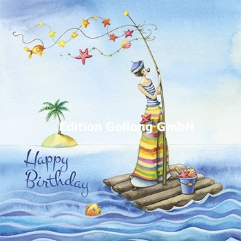 Nina Chen Postcard | Happy Birthday (Woman with raft)