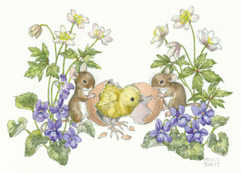 Postcard Molly Brett | Two mice with chick hatching from egg
