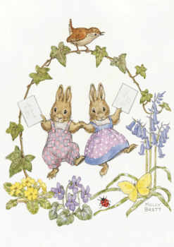 Postcard Molly Brett | Two Rabbits with Letters