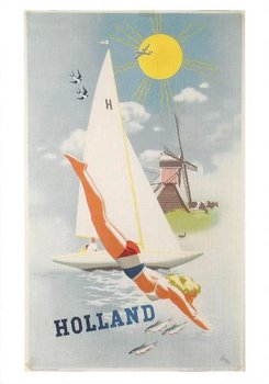 Museum Cards Postcard | Poster depicting include a yacht, Jan Wijga