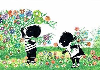 Fiep Westendorp Postcards | Jip en Janneke plukken bloemen