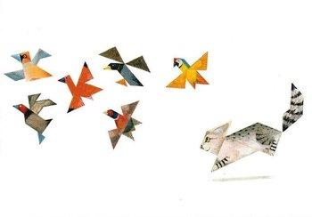 Gallery Cards Postcard | Tangramkat - kat en vogels