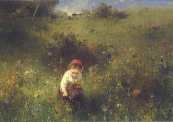 Museum Cards Postcard | Girl in a field