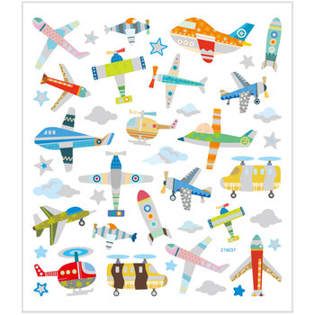Seal Sticker with Glitter Foil | Airplanes and Helicopters