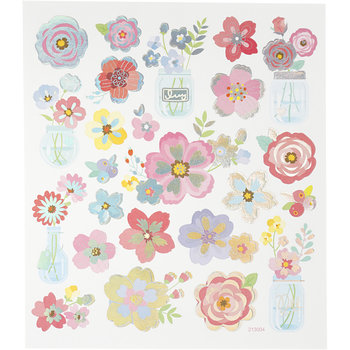 Seal Sticker with Silver Foil | Spring Flowers