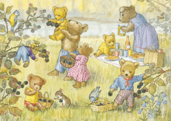 Postcard Molly Brett | Teddy Bears and Blackberries